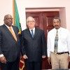 (L-R) Prime Minister Dr. Timothy Harris; Cuban Ambassador to St. Kitts and Nevis - Abelardo Fabio Hernández Ferrer and Permanent Secretary in the Office of the Prime Minister - Osbert DeSuza.