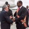 Prime Minister Gaston Browne greets Cuban-President-Raul Castro on his maiden visit to Antigua and Barbuda in December, 2017