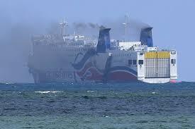 burning cruise ship