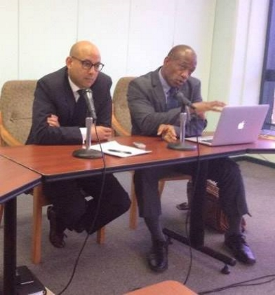 Attorney General Cajeton Hood (left) and Junior Education Minister Simon Stielle at news conference (CMC Photo)