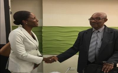 Najan Christoper and CARIFORUM Director General Percival Marie